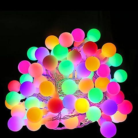 LE 10M Guirlande Lumineuses Boules LED, 100 Boules Colorées, 8