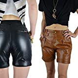 Damen Bermuda Shorts Kunstleder Lederlook Lederimitat Braun & Schwarz GR.XS-L, Farbe:schwarz;Größe:S (36)