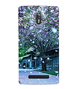 Fuson Designer Back Case Cover for Oppo Find 7 :: Oppo Find 7 QHD :: Oppo Find 7a :: Oppo Find 7 FullHD :: Oppo Find 7 FHD (Seasonal Change Beautiful Season Autumn Spring Falling Flowers)