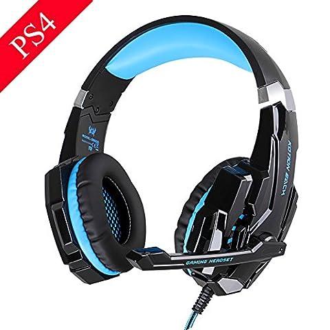 EasySMX Micro Casque PS4 Gaming, Audio Stéréo Basse avec LED Lampe Luminosité, bien Anti-Bruit, Casque Contrôleur Sur-Ligne pratique, Compatible pour PS4, PC, Laptop, Tablette, et Tous les Smartphone (Noir+Bleu)