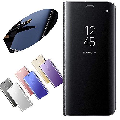 Nadoli Galaxy J3 2017 Spiegel Hülle,Mirror Effect PU Leder Hülle Transparent Case Cover Handytasche Book PC Hart Flip Standfunktion für Samsung Galaxy J3 2017,Schwarz