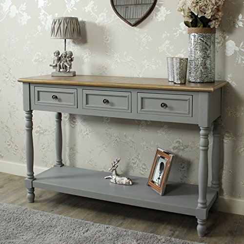 Grey Shabby Chic Bedroom: Grey Wood Shabby Vintage Chic Three Drawer Console