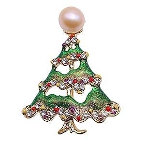jyx Pearl Brosche Weihnachten tree-style 10mm Rosa Süßwasser Zuchtperlen Brosche Weihnachten