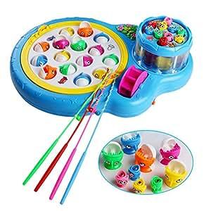 Giochi Elettronici Gioco della Pesca Pesci con 2 Piastra Giocattoli Musicali per Bambini su 3 Anni, Colore Blu