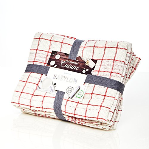 Lumaland Geschirrtücher Babylon Serie in fünf Farben 10 Stück pro Set 100% Baumwolle 50 x 70 cm Beste Qualität Rot - Weiß (Leinen 100 Geschirrtücher)