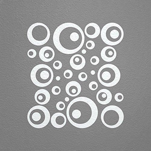 WANDfee® Wandtattoo 50 Retro Kreise AC0710202 Größe Ø 2 x 20 cm, 6 x 15 cm, 10 x 10 cm, 20 x 6 cm, 12 x 3 cm Farbe weiß weiß - Bambus-stamm Material