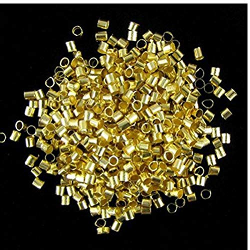 Gamloious 2mm Gold überzogenes Rohr Crimp Messing Runde Perlen (About 800pcs) -