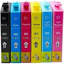 ColorJoy reemplazo para EPSON T0821 T0822 T0823 T0824 T0825 cartucho de tinta para impresión oficial compatible para impresoras epson r270 r290 r390 t50 rx590