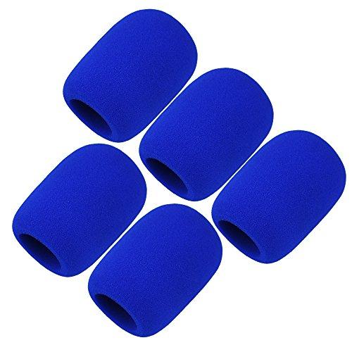 5Stück schwarz Schaumstoff Mikrofon für Handheld-Mikrofon, Windschutzscheibe, Shield, Schwamm Cover 5 Pcs Blue