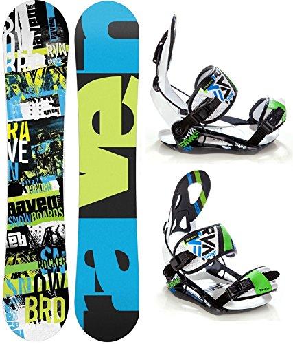 Snowboard Set: Snowboard Raven Grunge Green Carbon + Bindung Raven s250 Black/White/Green/Blue L
