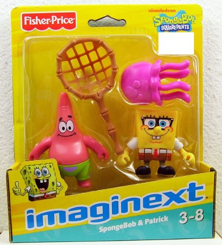 Fisher-Price - X7471 - Imaginext - Spongebob Schwammkopf - 2-Pack - Spongebob & Patrick - mit Qualle und Fangnetz