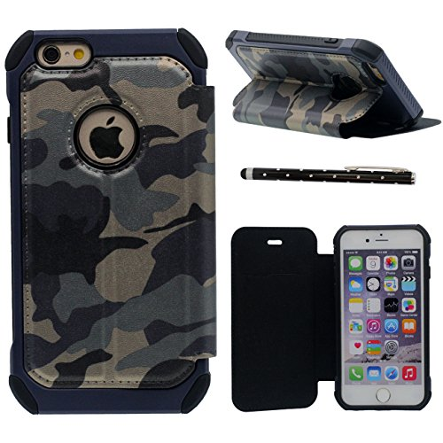 iPhone 6S Plus Coque, Camouflage Serie Rabat Style Carte Titulaire Haute qualité Dur Plastique Poids léger Anti Choc Housse de Protection case pour Apple iPhone 6 Plus 6S Plus 5.5 inch avec 1 stylet bleu
