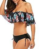 DEELIN Los Hombros Sin Tirantes De Las Mujeres con Volantes De Bikini Floral Conjunto De Traje De BañO Acolchado del Sujetador Traje De BañO (S, Negro)