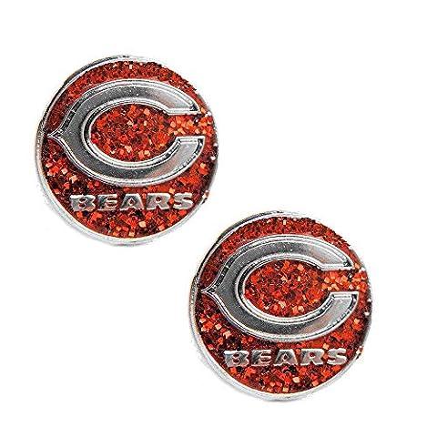 Chicago Bears Sports Team Logo Women Girls Fashion Wear Glitter Sparkle Post Stud Charm Gift Earring Set by aminco
