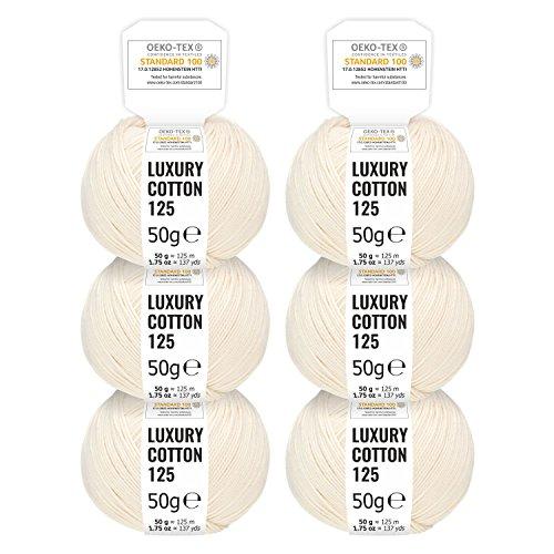 Stricken Baumwolle (100% Baumwolle mercerisiert in 15 glänzenden Farben - 300g Set (6 x 50g) - Oeko-Tex Standard 100 zertifizierte Wolle zum Stricken & Häkeln by fairwool - Natur / Creme)