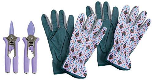 CON:P Mini-Blumenscheren und Gartenhandschuhe Set, 4-teilig, rosa