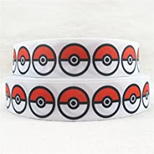 1 Metre blanco de pelota de Pokemon Character Cartoon Ribbon 7/8