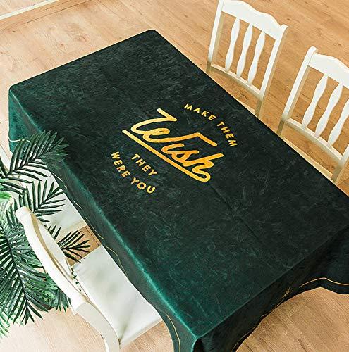 WJYdp Grüne Rechteckige Tischdecke Goldbuchstabe Aus Wasserdichtem Stoff Hausküche Picknick Gartentischdecke,140X200cm (Stoff Picknick-tischdecke)