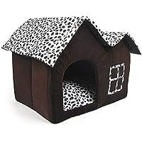 Mascota Habitacion - TOOGOO(R)Lujo Alto-Final Doble Mascota Casa Marron Perro
