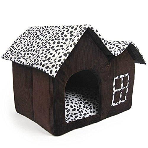 Mascota Habitacion - TOOGOO(R)Lujo Alto-Final Doble Mascota Casa Marron Perro Habitacion 55...