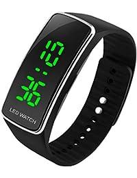 Kinder Digital Uhren, Jungen Mädchen 3 Bars Wasserdicht Outdoor Sport Uhren, Jugendliche Kinder die Electronic Digitaluhren Sport Armbanduhr mit LED Hintergrundbeleuchtung - Schwarz von UEOTO