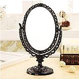ToiM europäischen Stil, mit Spiegel, Schminkspiegel/Kosmetikspiegel, doppelseitig, Retro-/Vintage-Stil, mit Spiegel für Schminktisch Europäisch Schwarz
