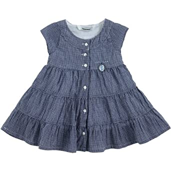 3Pommes Baby Girl's Cotton Checked Dress Navy Girl: Amazon.co.uk: Baby
