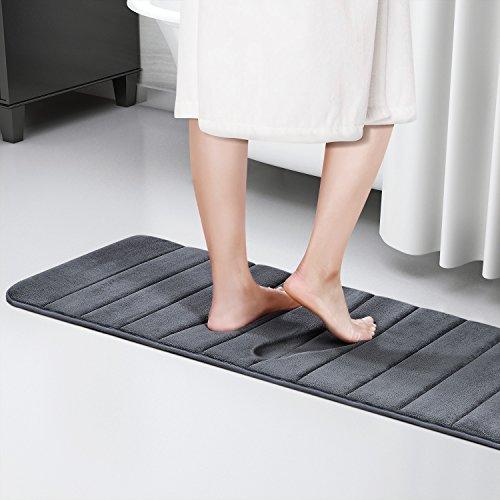 Lifewit Badezimmerteppich Memory Foam Badeteppiche Extralange Saugfähige Badematte 120x 42 cm Rutschfeste Unterseite 40D Grau