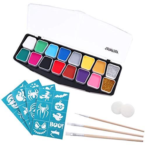 DollylaStore Gesichtsfarbe Set Gesicht Malerei Kits Party Ultimate Halloween Party Pack - Gesicht Körper Kostüm Make-up Farbe Supplies - 14 Farben