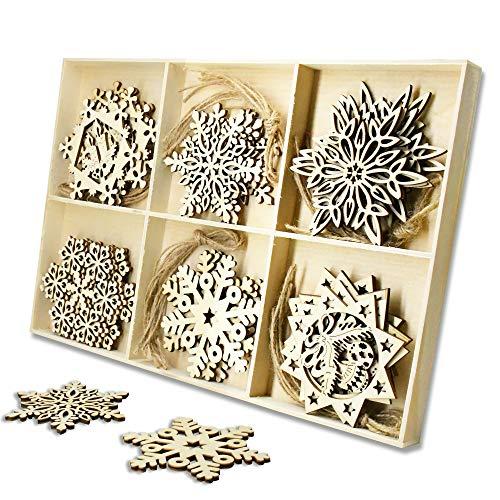YuQi 30 STK.Unbehandeltes Holz Schneeflocken Ornamente, Weihnachten Schneeflocke Deko hängen Anhänger für Wohnkultur,Weihnachtsbaum hängen Ornament Verzierungen