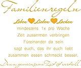 GRAZDesign 300164_50_WT020 Wandtattoo Familienregeln für Wohnzimmer | Wandspruch für Deine Familie | Spruch Leben Lieben Lachen Herz | Selbstklebende Folie (60x50cm//020 Goldgelb)