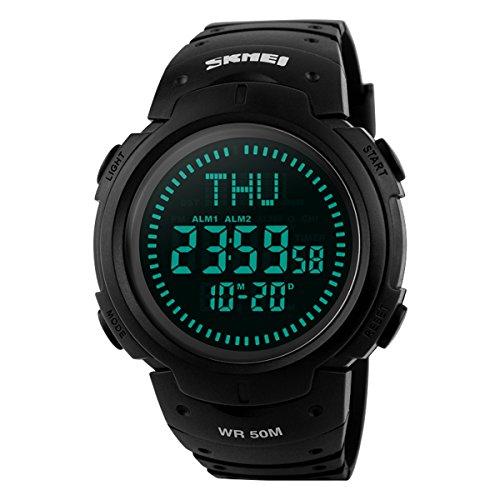 BesWlz Herren Armbanduhr Military Digital Uhr Sport Wasserdicht Outdoor Electronic Army LED Rücklicht Display Alarm Stoppuhr mit Kompass 50M Wasserdicht Herren Uhren (Black)
