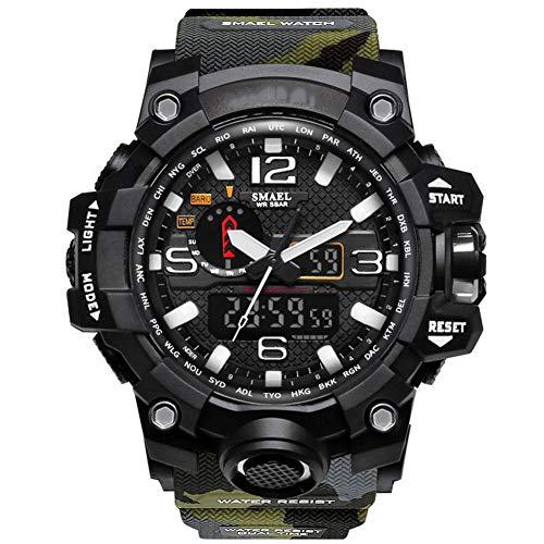 JINRU Outdoor Militäruhr Tarnung Sport Wasserdichte Doppel-Display Herren-Uhr Multifunktionsfunktion LED-elektronische Uhr