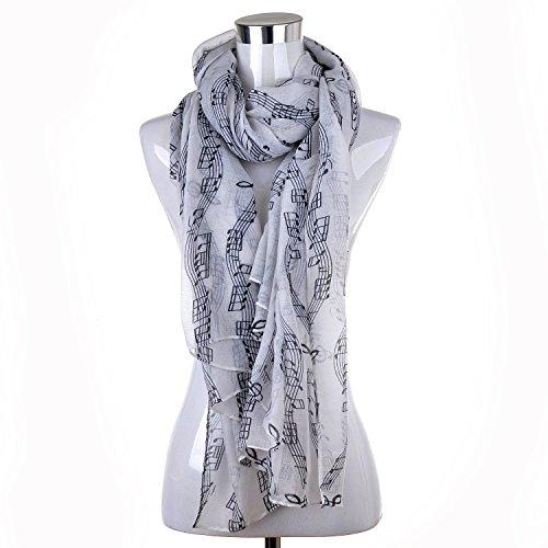 lureme/® stampa nota di musica leggera della moda sciarpa lunga 01003407