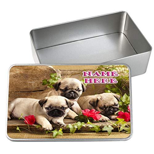KRAFTYGIFTS Personalised Treat Tin Dog Pug Puppies Flowers Pet Puppy Food Travel Tin Box Gift SH198