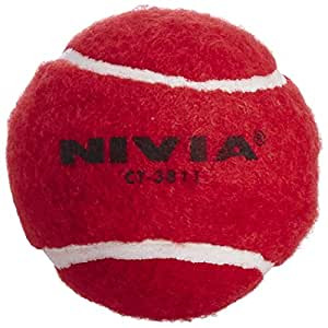 Nivia Heavy Weight Rubber Cricket Tennis Ball, Pack of 6 (Red)
