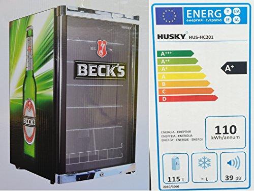 Husky HUS-HC 201 Highcube High Cube Flaschenkühlschrank Becks / A+ / 83,5 cm Höhe / 110 kWh/Jahr / 130 L Kühlteil inkl. Reinigungstuch