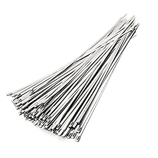 ANZESER Stainless Steel Zip Ties 4.6 * 300mm Exhaust Wrap Coated Locking Cable Zip Ties 100pcs