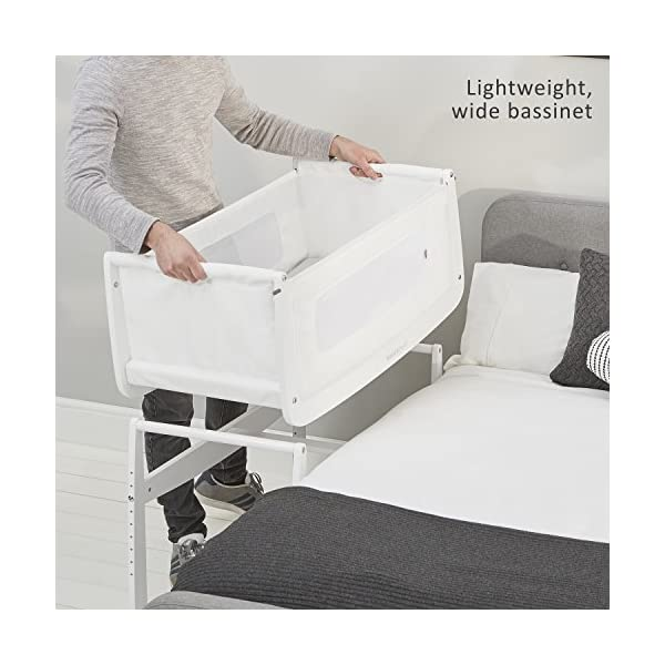 SnuzPod 3 Bedside Crib - White Snuz SnuzPod 3 has added functionality, a lighter bassinet and a more breathable sleeping environment. More than just a bedside crib; use as a bedside crib, stand alone crib or moses basket/bassinet. Simply attach the crib to your bed using straps provided (fits frame and divan beds) and your ready use as a bedside crib. The 9 different height settings allow you to ensure the crib is the right height for your bed (31-63cm) New! SnuzPod 3 now comes with an optional reflux function, by tilting the crib and setting an incline to reduce reflux symptoms little one can get a better nights sleep. 5