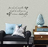 wandaufkleber schlafzimmer Vinyl Art Mural Wall Quote Saying Stickers Decals Home Decor Caterpillar Became a Butterfly Wall Quote | Inspirational Wall Decal