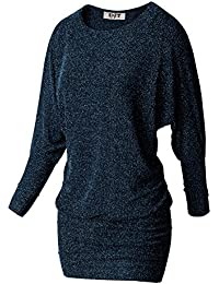 DJT Femme Tee-shirt Long Manches chauve-souris Pull-over Col Rond