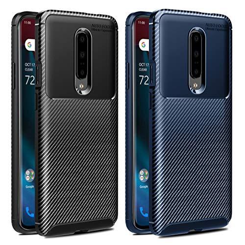 VGUARD [2 Stücke] Hülle für OnePlus 7 Pro/OnePlus 7 Pro 5G, Stylisch Karbon Design Schutzhülle Cover Robuste Soft Flex TPU Silikon Handyhülle Case für OnePlus 7 Pro / 5G (Schwarz+Blau)
