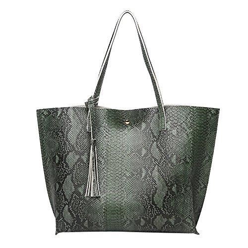 Borse donna elegante,feixiang borse vintage donna borsa da donna in nappa di cuoio borsa a tracolla modello serpentina borse a spalla borse tote borsa a mano