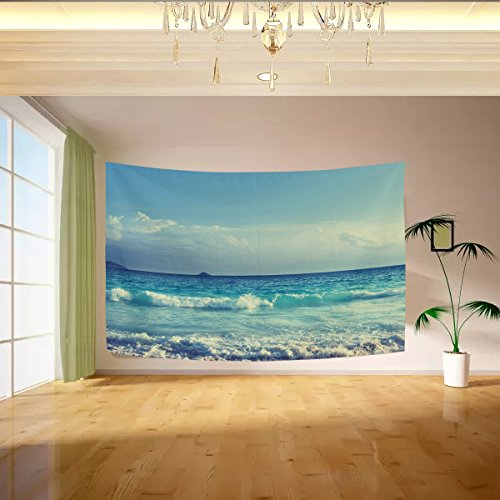 Vipsa Tapestry Blue Sky Waves Beach Wall Hanging Artistic Light-Weight Polyester Fabric Cottage Dorm Wall Art Home Decoration 60 x 40 inches Gray Wall Decoration -