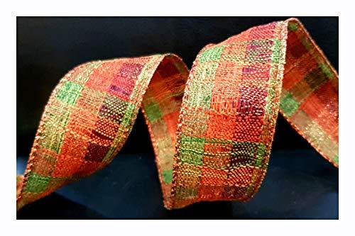 Ribbon Queen Herbsternte Herbstkranz Drahtkranz Hochzeit Schleifen Geschenke Kuchen Weihnachten, Copper Orange Green Check Burlap Hessian 1.5