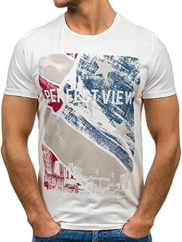 BOLF Herren T-shirt Figurbetont Kurzarm Print Sommer GLO-STORY 7428 Weiß XXL [3C3]