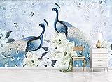 ZZXBH Fototapete 3D Effekt Handgemalte Hintergrundwandmalerei Der Modernen Frischen Günstigen Pfauenblume Dekorative Malerei Wand Dekoration