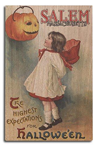Salem, Massachusetts-Halloween Grußkarte-Girl in rot und weiß-Vintage Kunstwerk, holz, mehrfarbig, 10 x 15 Wood Sign
