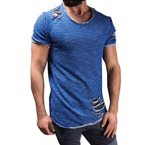 Feixiang® t-shirt uomo fori maniche corte irregolari collare tops maglia magliette casual moda camicia manica corta da uomo collo alto comodo maglietta del foro di modo degli uomini (blu, m)