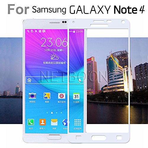 Samsung Galaxy Note 4 Tempered Glass Screen Protector Guard – NETBOON® Exclusive Full TransparentTempered Glass HD Clarity, 9H Hardness, Ultra thin, Anti-Scratch Original Gorilla Glass Guard for Samsung Galaxy Note 4 – (White)
